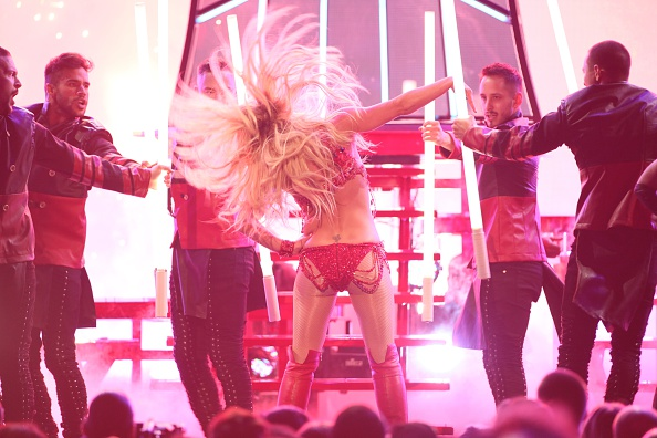 LAS VEGAS, NEVADA - MAY 22: Britney Spears is seen on stage during the 2016 Billboard Music Awards held at the T-Mobile Arena on May 22, 2016 in Las Vegas, Nevada. (Photo by JB Lacroix/WireImage)